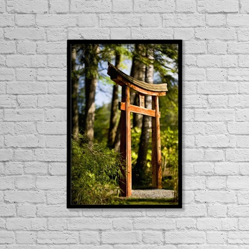 """Printscapes Wall Art: 12"""" x 18"""" Canvas Print With Black Frame - Arch On Pathway In The Japanese Gardens by Lorna Rande"""