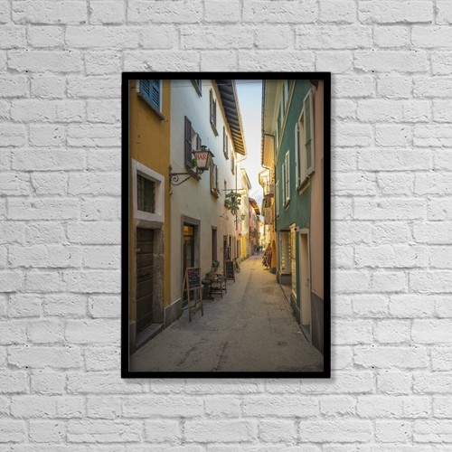 "Printscapes Wall Art: 12"" x 18"" Canvas Print With Black Frame - Colorful Architecture Along A Narrow Alleyway by Mats Silvan"
