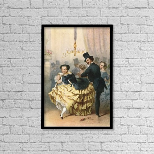 "Printscapes Wall Art: 12"" x 18"" Canvas Print With Black Frame - Ballroom Scene In The 19th Century by Ken Welsh"