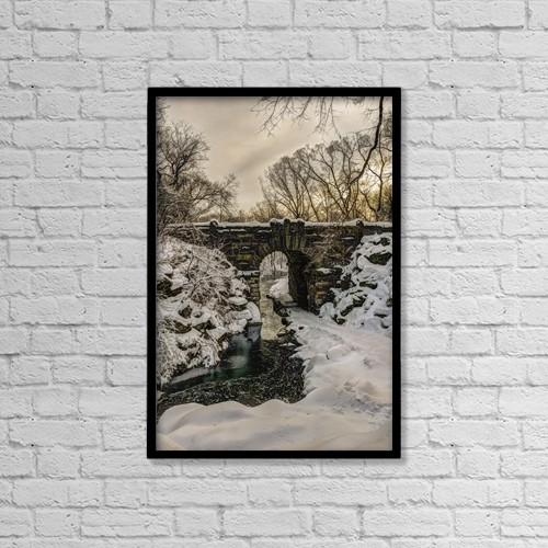 "Printscapes Wall Art: 12"" x 18"" Canvas Print With Black Frame - Snow-Covered Glen Span Arch, Central Park by F. M. Kearney"