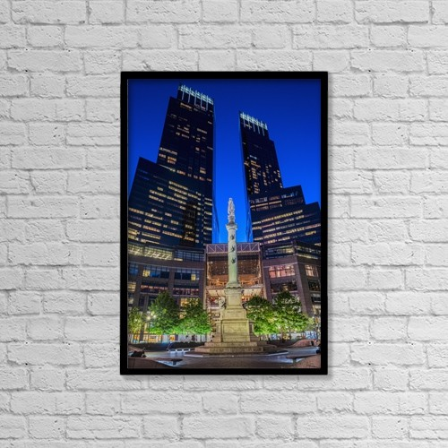 "Printscapes Wall Art: 12"" x 18"" Canvas Print With Black Frame - Time Warner Center by F. M. Kearney"