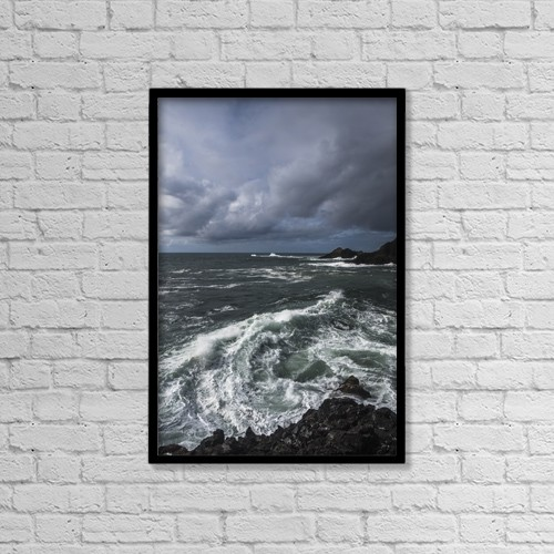 "Printscapes Wall Art: 12"" x 18"" Canvas Print With Black Frame - Surf Breaks On A Stormy Afternoon by Robert L. Potts"