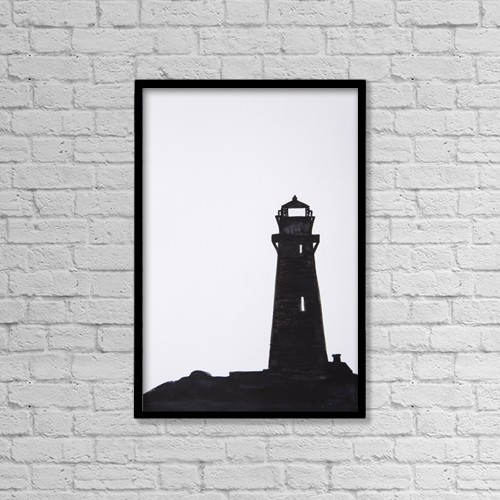 "Printscapes Wall Art: 12"" x 18"" Canvas Print With Black Frame - Lighthouse On A Rock by Tara Thelen"