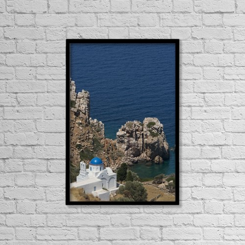 "Printscapes Wall Art: 12"" x 18"" Canvas Print With Black Frame - The Blue Domed Church At The Water's Edge by Ellen Rooney"