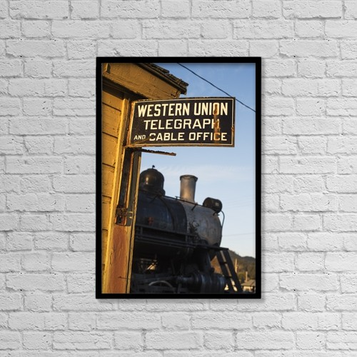 "Printscapes Wall Art: 12"" x 18"" Canvas Print With Black Frame - Historic Sign And Train by Robert L. Potts"