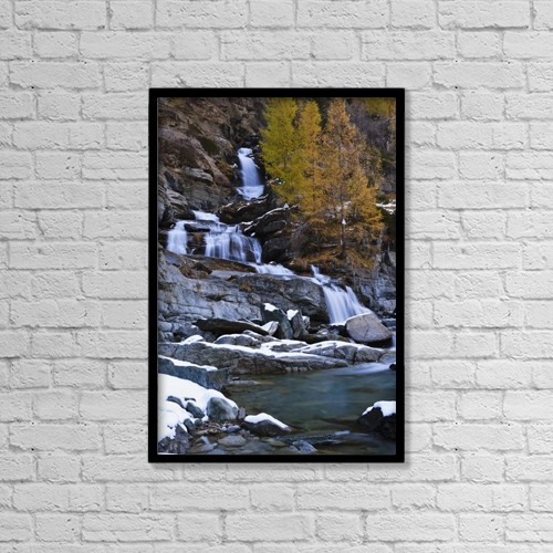 "Printscapes Wall Art: 12"" x 18"" Canvas Print With Black Frame - Lillaz Waterfall; Cogne, Italy by Yves Marcoux"