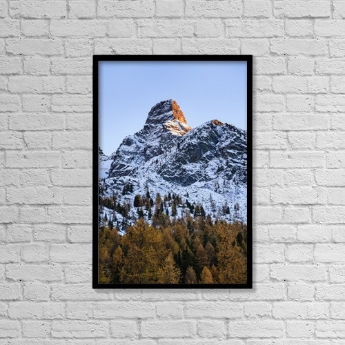 "Printscapes Wall Art: 12"" x 18"" Canvas Print With Black Frame - Rugged Mountain Peak, Val D'ayas; Italy by Yves Marcoux"