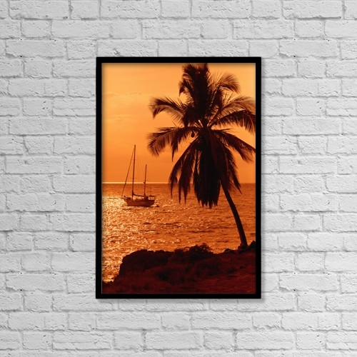 "Printscapes Wall Art: 12"" x 18"" Canvas Print With Black Frame - Sailboat And Palm Tree At Sunset by Ron Dahlquist"