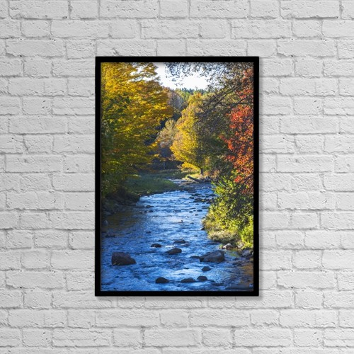 "Printscapes Wall Art: 12"" x 18"" Canvas Print With Black Frame - Small River With Rocks In Autumn by David Chapman"