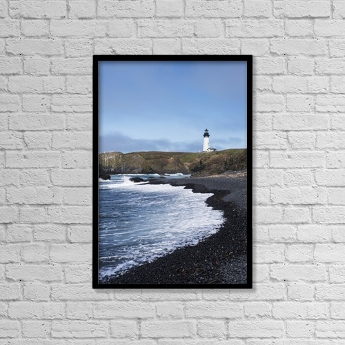 "Printscapes Wall Art: 12"" x 18"" Canvas Print With Black Frame - Surf Breaks On The Beach At Yaquina Head by Robert L. Potts"