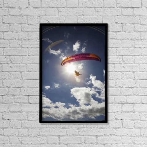 """Printscapes Wall Art: 12"""" x 18"""" Canvas Print With Black Frame - Paraglider At Makapuu Point by Kelly Fitzgerald"""