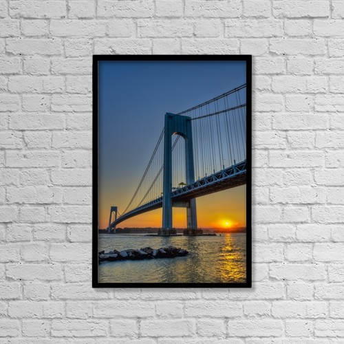 "Printscapes Wall Art: 12"" x 18"" Canvas Print With Black Frame - Verrazano-Narrows Bridge At Sunset by F. M. Kearney"