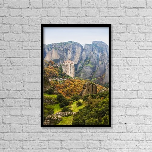 "Printscapes Wall Art: 12"" x 18"" Canvas Print With Black Frame - Monastery Rousanou; Meteora, Greece by Reynold Mainse"