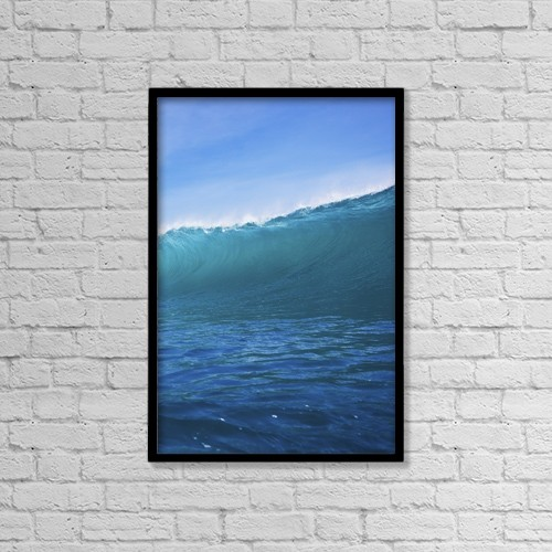 """Printscapes Wall Art: 12"""" x 18"""" Canvas Print With Black Frame - Blue Ocean Wave by Design Pics Vibe"""