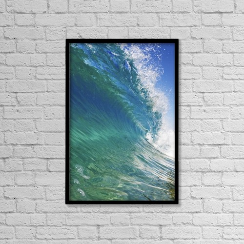 "Printscapes Wall Art: 12"" x 18"" Canvas Print With Black Frame - Blue Ocean Wave, View From In The Water by Design Pics Vibe"