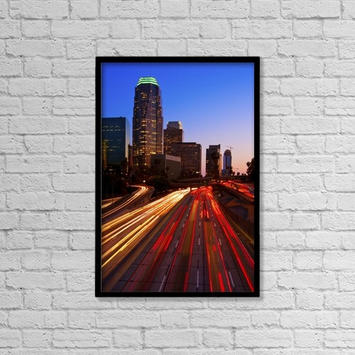 "Printscapes Wall Art: 12"" x 18"" Canvas Print With Black Frame - Modern Urban City At Sunset by Design Pics Vibe"