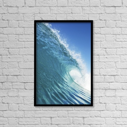 "Printscapes Wall Art: 12"" x 18"" Canvas Print With Black Frame - Blue Ocean Wave by Design Pics Vibe"