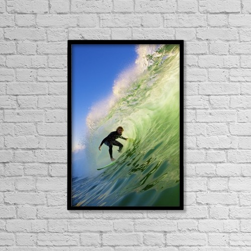 "Printscapes Wall Art: 12"" x 18"" Canvas Print With Black Frame - Surfer On Blue Ocean Wave by Design Pics Vibe"