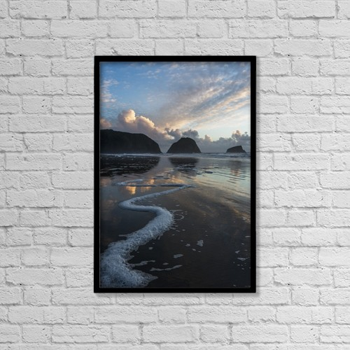 "Printscapes Wall Art: 12"" x 18"" Canvas Print With Black Frame - Dusk Approaches On Crescent Beach by Robert L. Potts"