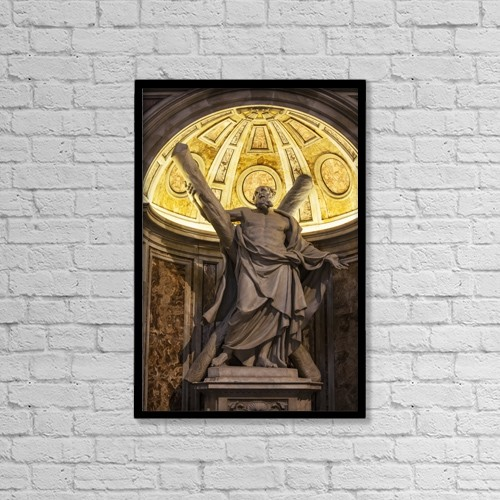 "Printscapes Wall Art: 12"" x 18"" Canvas Print With Black Frame - Statue Of Saint Andrew, St by Reynold Mainse"