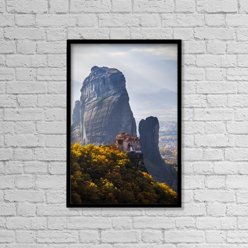 "Printscapes Wall Art: 12"" x 18"" Canvas Print With Black Frame - Monastery On A Cliff; Meteora, Greece by Reynold Mainse"