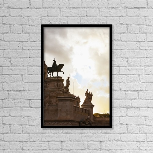 """Printscapes Wall Art: 12"""" x 18"""" Canvas Print With Black Frame - Statue Of Victor Emmanuel; Rome, Italy by Reynold Mainse"""
