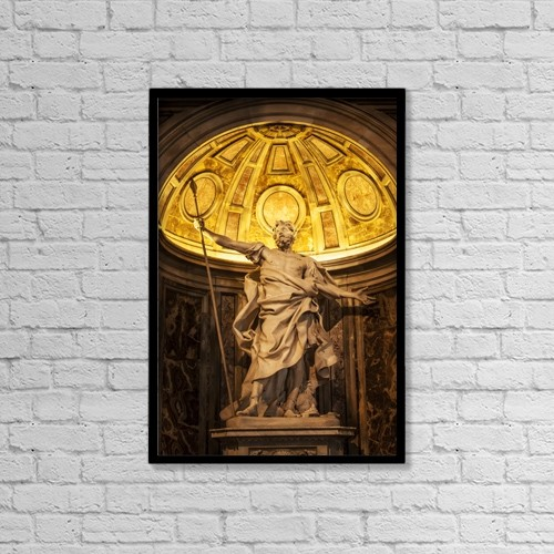 "Printscapes Wall Art: 12"" x 18"" Canvas Print With Black Frame - Statue In St by Reynold Mainse"
