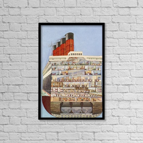 """Printscapes Wall Art: 12"""" x 18"""" Canvas Print With Black Frame - The Interior Of The Rms Aquitania by Hilary Jane Morgan"""