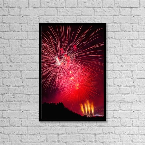 "Printscapes Wall Art: 12"" x 18"" Canvas Print With Black Frame - Colourful Fireworks by Michael Interisano"