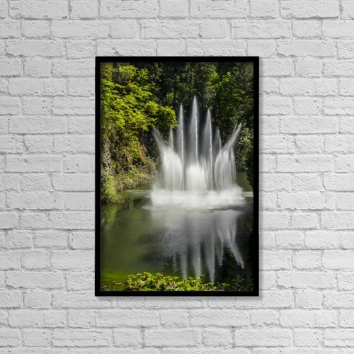 "Printscapes Wall Art: 12"" x 18"" Canvas Print With Black Frame - Water Fountain At Butchart Gardens by Cathy Hart"