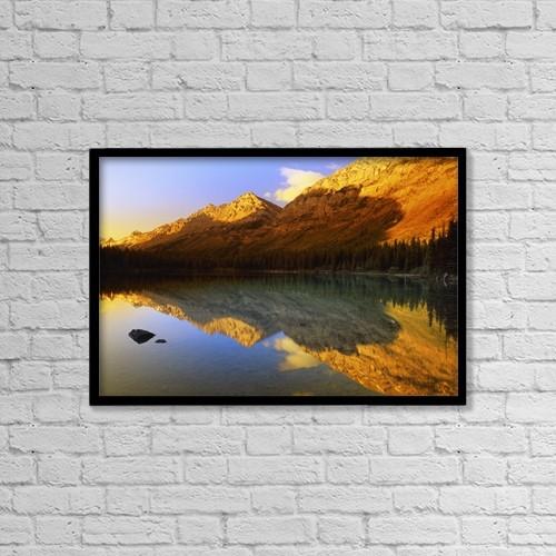 "Printscapes Wall Art: 18"" x 12"" Canvas Print With Black Frame - A Scenic Mountain Lake by Carson Ganci"