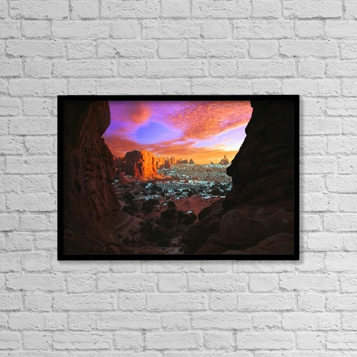 "Printscapes Wall Art: 18"" x 12"" Canvas Print With Black Frame - Rocky Buttes Viewed Through Canyon by Corey Hochachka"