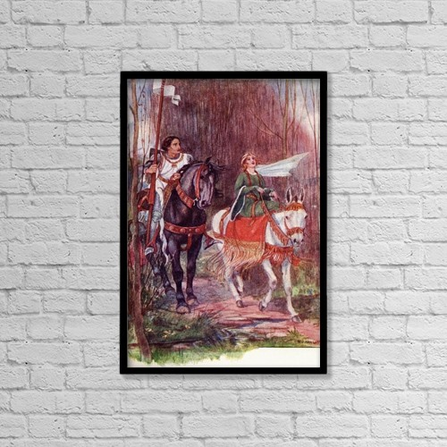 "Printscapes Wall Art: 12"" x 18"" Canvas Print With Black Frame - Sir Lancelot And Queen Guinevere by Hilary Jane Morgan"