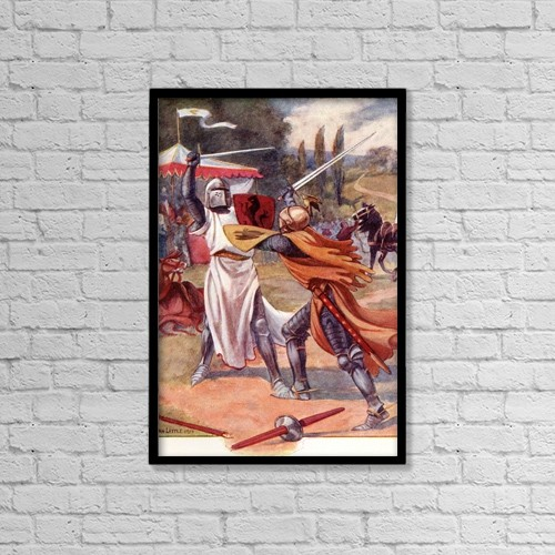 """Printscapes Wall Art: 12"""" x 18"""" Canvas Print With Black Frame - Fighting Knights In Armour by Hilary Jane Morgan"""