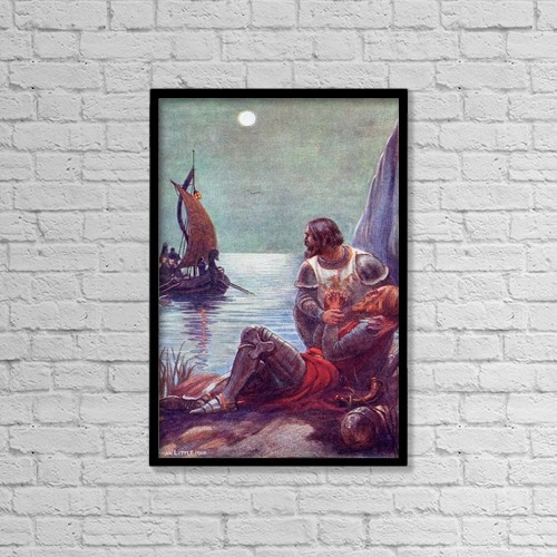 """Printscapes Wall Art: 12"""" x 18"""" Canvas Print With Black Frame - The Death Of King Arthur by Hilary Jane Morgan"""
