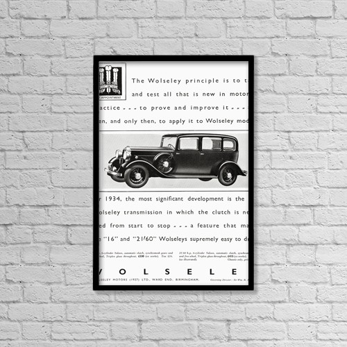 "Printscapes Wall Art: 12"" x 18"" Canvas Print With Black Frame - Advertisement For The Wolseley Car by Hilary Jane Morgan"