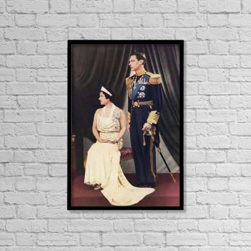 "Printscapes Wall Art: 12"" x 18"" Canvas Print With Black Frame - King George Vi And Queen Elizabeth by Hilary Jane Morgan"