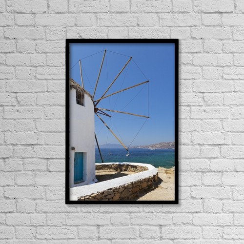 "Printscapes Wall Art: 12"" x 18"" Canvas Print With Black Frame - Traditional Windmill by Terence Waeland"
