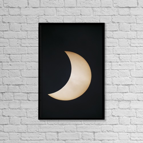 "Printscapes Wall Art: 12"" x 18"" Canvas Print With Black Frame - Solar Eclipse by John Short"