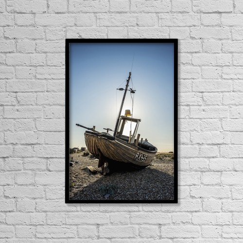 "Printscapes Wall Art: 12"" x 18"" Canvas Print With Black Frame - Old Boat On A Shingle Beach by Dosfotos"