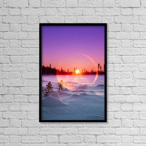 "Printscapes Wall Art: 12"" x 18"" Canvas Print With Black Frame - Sun Flare Glowing Over A Winter Landscape by Ed Boudreau"