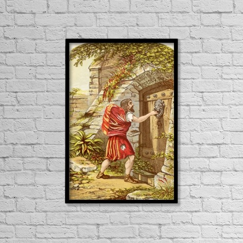 "Printscapes Wall Art: 12"" x 18"" Canvas Print With Black Frame - Christian At The Gate by Hilary Jane Morgan"