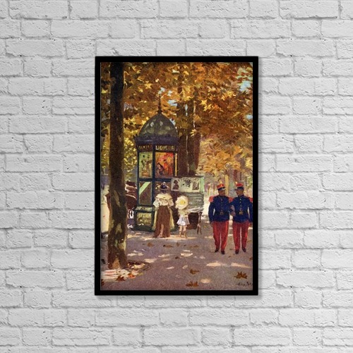 "Printscapes Wall Art: 12"" x 18"" Canvas Print With Black Frame - French Soldiers In Paris, France by Hilary Jane Morgan"