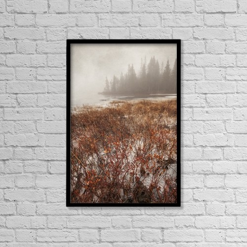 """Printscapes Wall Art: 12"""" x 18"""" Canvas Print With Black Frame - Northern Autumn Landscape In Fog And Ice by Susan Dykstra"""