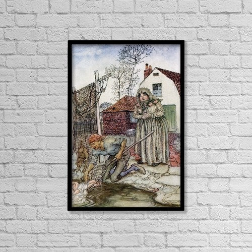 """Printscapes Wall Art: 12"""" x 18"""" Canvas Print With Black Frame - The Fish And The Ring by Hilary Jane Morgan"""