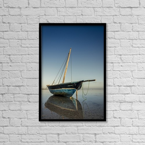 "Printscapes Wall Art: 12"" x 18"" Canvas Print With Black Frame - Dhow In Low Tide by Dosfotos"