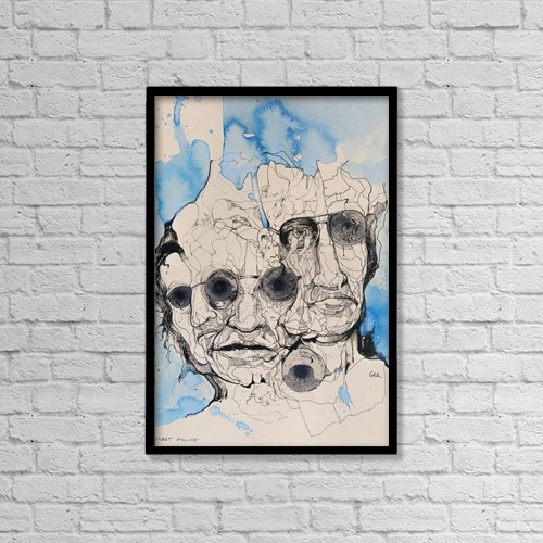 "Printscapes Wall Art: 12"" x 18"" Canvas Print With Black Frame - Mysterious Characters That Merge Into One by Glen Ronald"