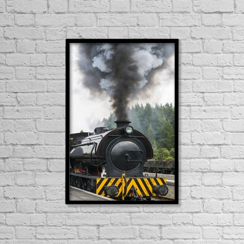 "Printscapes Wall Art: 12"" x 18"" Canvas Print With Black Frame - Smoke Billows From The Engine Of A Train by John Short"