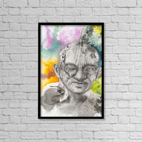 "Printscapes Wall Art: 12"" x 18"" Canvas Print With Black Frame - Illustration Of A Mahatma Gandhi by Glen Ronald"