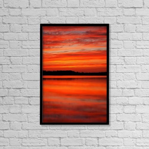 "Printscapes Wall Art: 12"" x 18"" Canvas Print With Black Frame - Sunset Reflections At Powder Mill Lake by Irwin Barrett"